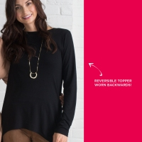 Ultra modern tunic-length layer can be worn front to back or back to front